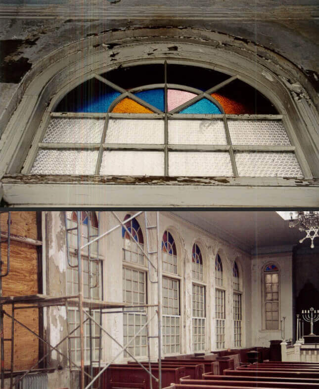 Vilna Shul wood window upper sash restoration before and after